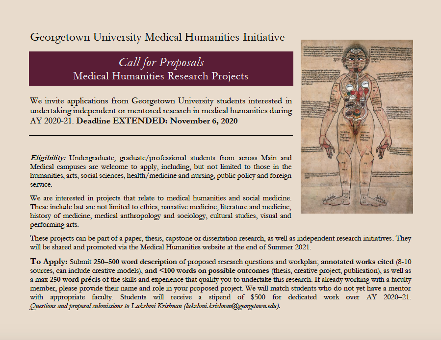 Flyer describing Call for Proposals to Medical Humanities Research Project