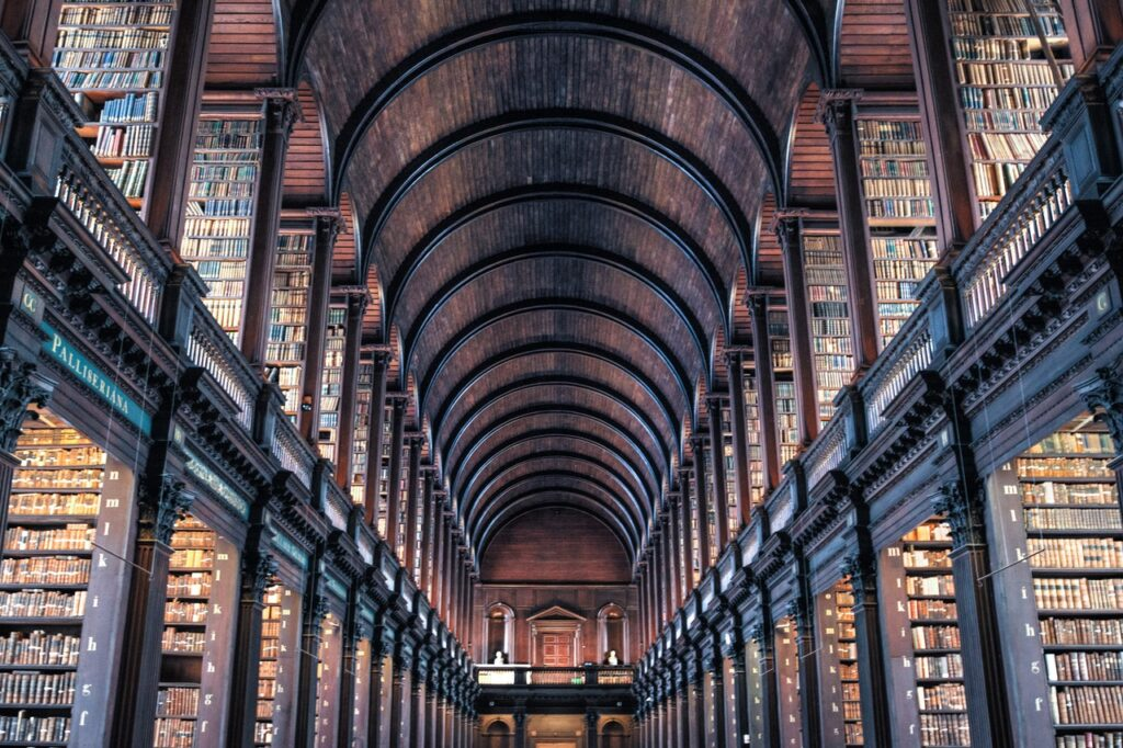 Image of The Long Room at Trinity College in Dublin (high vaulted, rounded ceiling, dark wood exposed, with books on two separate levels)