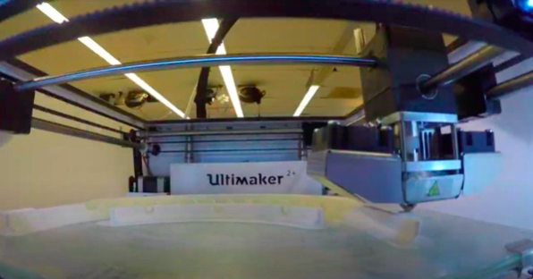 Image of the inside of the 3-D printer at the MakerHub in Lauinger Library
